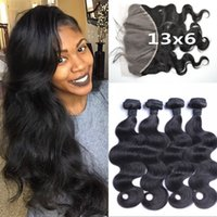 Wholesale Indian Remy Lace Frontals - 13x6 Frontal Lace Closure And Bundles G-EASY Brazilian Virgin Remy Hair Body Wave Lace Frontals