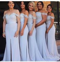 Wholesale Sliver Strapless Mermaid Dress - New Arrival Sliver Mermaid Bridesmaid Dresses Off the Shoulder Sweetheart Lace Appliques Front Split Long Wedding Guest Dresses Under 100