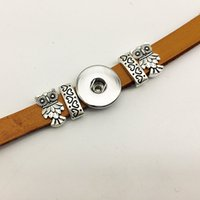 Wholesale 14k Owl - Hot Sale OWL Leather snap button Bracelet BT230 (fit 18mm 20mm snaps) party dress jewelry DIY