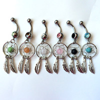 Wholesale Wholesale Naval Rings - 0008-7 Dream Catcher Dangle 10 pcs mix colors stones Belly Rings Navel naval Wholesale Lot drop shipping