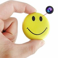 Wholesale HD P Wearable Mini Hidden Camera Video Recorder DV Camcorder Smiley Face Badge with Audio Recording Portable Camcorder Candid Camera