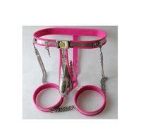dispositivo de castidad masculina rosa al por mayor-2017 HOT Full Male Chastity Belt Device rosa de acero inoxidable jaula y bandas de muslo