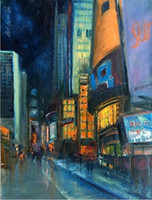 Enmarcado Times Square Night New York City VIEWS, pintura al óleo abstracta pintada a mano pura del arte en Canvas.Multi sizes