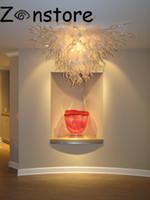 galerias de iluminacion al por mayor-Brillante arte blanco lámpara de cristal Galería Decoración de techo Luces led 100% soplado a mano Murnao Lámparas de techo de cristal