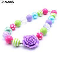 Wholesale Bright Children - MHS.SUN Purple Rose Flower Kid Chunky Necklace Bright Color Design Bubblegum Bead Chunky Necklace Children Jewelry For Toddler Girls