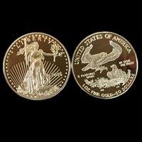 ingrosso souvenir aquila-5 pz / lotto, Non magnetico L'American Eagle In God ha fiducia in Freedom 2016 placcato oro Liberty moneta souvenir reale, spedizione gratuita