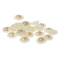 Wholesale Pearl Flatback 12mm - 12mm 1000pcs Sunflower Shape Half Round Pearls #01-#08 AB Colors Flatback Glue On Resin Beads Appliques For Wedding Dress Decoration
