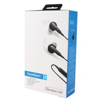 SOUNDSPORT IN-EAR HEADPHONE 2.0 para APPLE iPad iPhone iOS System Sport Wired Fones de ouvido com cabo de microfone Control Carcoal Black