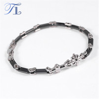 Wholesale Cost Silver Bracelet - TL Ceramic Stainless Steel Bracelets Flower Leisure Collocation Black & White Sections Ceramic Bracelets Cost-effective Jewelry