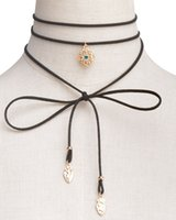 Wholesale Gothic Leather Jewelry - Boho Long Leather Velvet Choker Women Jewelry Gothic Black Velvet Chokers Necklaces Long Chain Leaf Tassel Pendant Necklace xr160800-8