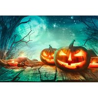 Funnytree 7x5FT Halloween Pumpkin Filed Night Moon Photography Backdrop for Kids Birthday Party Banner Starry Sky Background Photo Booth