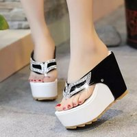 Wholesale High Heeled Thick Bottom Sandals - Thick Bottom Platform Flip Flops Rhinestone Wedge Heel Shoes Patchwork Woman Summer Sandals Fashion Wedges Slides Size 35~39