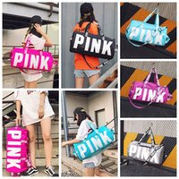 Wholesale Women Handbags Wholesale - 5 Colors Pink Letter Duffel Bags Women Handbags Large Capacity Travel Duffle Striped Waterproof Beach Bag Shoulder Bag CCA7228 50pcs
