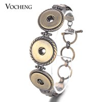 Wholesale Bronze Jewelry Toggles - VOCHENG NOOSA Bronze Bracelet Ginger Snap Jewelry Metal 18mm Button Vintage Jewelry for Women NN-473