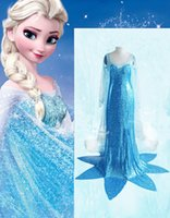 Wholesale Carnival Uniforms Adults - New Arrival Sexy Princess Halloween Fancy Dress Classic Carnival Cartoon Costume Blue Shiny Sequins Adult Elsa Costume W846150