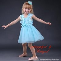 Wholesale Cheap Cotton Clothing For Girls - Pettigirl Cheap Baby Girls Jacquard Pink and Blue Dress With Lace Princess Girl Clothes For Kids Party Dresses GD80905-27