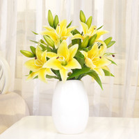 Wholesale Real Touch Flower Arrangement - 10pcs lot High Quality Real Touch 3 Heads Artificial PU Lily Decorative Silk Flowers Arrangement Home Decor Wedding Bridal Bouquet