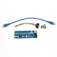 Wholesale Ide Adapter Card - NEW 60CM PCI Express PCI-E 1X to 16X Riser Card Extender PCIE Adapter + USB 3.0 Cable & 15Pin SATA to 4Pin IDE Power Cord