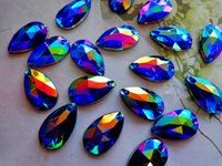 Wholesale Acrylic Sewing Stone - 150pcs 11*18mm Water Drop shape stone sew on Crystals Dark Blue AB colour Rhinestones Accessories For Hand Sewing gem stones