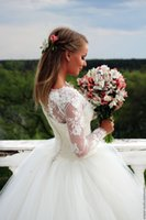 Wholesale Close Button Image - Tulle Train Ball Gown Sheer Square Neck Wedding Dresses 2017 Long Sleeve Bridal Gowns Closed Back Coveredf Button Wave Details Wedding Gowns