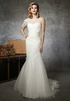 Wholesale High Neck Jeweled - Cheap Cap Sleeve Tulle Mermaid Wedding Dress Bateau Beaded Jeweled Chapel Train Bridal Gowns
