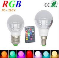 Wholesale E27 3w Changeable - AC85V-265V E27 E14 16 Colorful Changeable LED RGB Magic Light Dimmable Lampada Bulb Spot lamp lighting+24 key IR Remote Controller B22 GU10