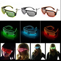 Wholesale Wholesale Christmas Light Wiring - EL Wire Light LED Glasses Bright Light Party Glasses Club Bar Performance Glow Party DJ Dance Eyeglasses OOA2479