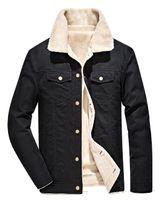 Wholesale Hair Neck Coat Men - Tide Brand jacket military style kanye west Autumn winter coat thermal coat men's lamb hair lapel skate board cashmere thickening hip hop j