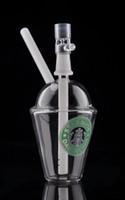 mini tasses de starbucks achat en gros de-Tasses d'eau de mini-tasses de verre de tasse de Bong de verre de Starbucks pour des plates-formes pétrolières de recycleur de fumer avec le dôme et le clou