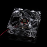 Wholesale Axial Chassis - Wholesale- pc computer fan 80mm with 4ea led 8025 8cm silent DC 12V LED luminous chassis 4D plug axial fan
