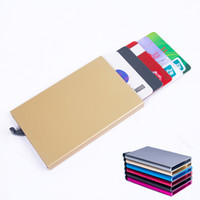 Wholesale Card Protector Wallet - Thin Metal Rfid Card Protector Slim aluminum Credit Card holder Wallet Case 5 Cards Slide Out Gradually
