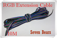 Wholesale Rgb Extension Connector Cable - Wholesale-10M 4 pins 4Pin RGB Extension Cable Connector 22AWG RGB+Black Wire Cord For 5050 3528 RGB LED Strip Light Module etc.