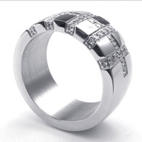Wholesale Sportsman Ring - 073041-Wholesale The new simulation diamond ring noble sportsman steel cross ring steel ring men to send friend a gift size:8-13