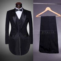 Wholesale Men S Grooming Set - Wholesale-New Male men's suit mounted casual the groom tuxedo set and Groom Wedding Dress Men's Tail Suit