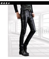 Wholesale Tight Leather Outfits - Wholesale-New 2016 Autumn Club Faux Skinny Mens Leather Pants Trousers Outfits Black Tight Fashion Pantalones Motorcycle PU Trendy Zipper