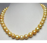 Wholesale 12mm South Sea Pearl Necklace - AAA 11-12mm Baroque South Sea Gold Pearl Necklace 19 inch 14k Gold Clasp