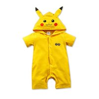 Whole Size organic kids pajamas - Newborn Pikachu Romper With Hoodied Summer Baby Kids Boys Girls Short Jumpsuits Bodysuits Pajamas Children Cotton Clothing HH R03