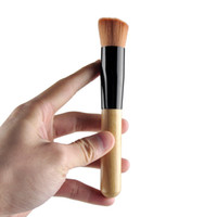 Flache Concealer Bürste Kaufen -Universal-Foundation Pinsel Make-up Pinsel Puder Concealer Blush Pro Powder Flusher Make-up Pinsel Holzgriff Rund und Flachkopfbürste