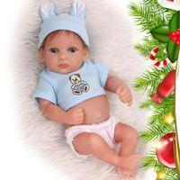 geschenkpuppe großhandel-Mini Volle Silikon Vinyl Reborn Babypuppe Lebensechte Mohair Puppen Baby Lebendig Gefälschte Colletible geschenk Präsentieren