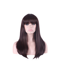 Wholesale Long Reddish Brown Hair - real picture womens wigs hair synthetic wigs long straight wig bangs reddish brown wig heat resistant WoodFestival