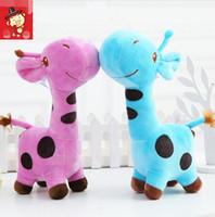 bebek kızları için doğum günü hediyesi toptan satış-Unisex Sevimli Hediye Peluş Zürafa Yumuşak Oyuncak Hayvan Sevgili Bebek Bebek Çocuk Çocuk Kız Noel Doğum Günü Mutlu Renkli Hediyeler