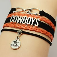 Wholesale Stainless Steel Cowboy Bracelet - Handmad Infinity Love Cowboys Bracelets Leather Bracelets Friendship Braided Bracelet Leather Cowboy Braided Bracelet for Men and WomenCusto