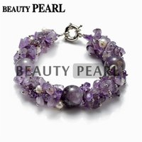 Wholesale Amethyst Freeform - 16mm Purple Amethyst Beads with Freeform White Freshwater Cultured Pearls Chip Bracelet Handmade Vintage Strand Bracelet for Women