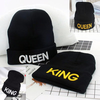 Wholesale Soccer Queen - Women Men Skull Cap King Queen Autumn Winter Hats Warm Fashion Knitted Beanie Lovers Stylish Hiphop