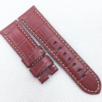 Wholesale Bamboo Needle - 24mm 120mm 75mm Luxury High Quality Red Bamboo Calf Leather Band Strap for PAM LUNMINOR RADIOMIR Wristwatch
