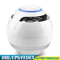 Wholesale Dock Mini Ball - DHL EMS 20PCS GS009 The Colorful Round Ball With LIGHT Bluetooth Speaker Outdoor Gift Creative Mini Small Stereo