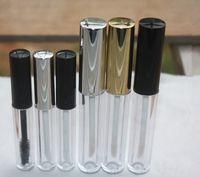 Wholesale Empty Mascara Bottles - 3ML Empty Small Lip Gloss Tube Mascara Tube Black Silver Golden Cap Cover Lipstick Container Bottle Lip Balm Brush 50pcs lot
