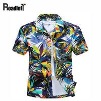 Wholesale Hawaiian Shorts - Wholesale-New 2016 Men's clothing summer short sleeve shirts Men hawaiian shirt casual floral shirt camisas masculina, plus size 4XL