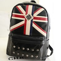 Wholesale Pu Jack Black Women - UK flag backpack USA stud school bag Union jack day pack Leather schoolbag Quality rucksack New daypack