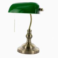 lámpara antigua de cristal al por mayor-Lámpara de banquero tradicional clásica / lámpara de mesa antigua / lámpara de cubierta de cristal verde
